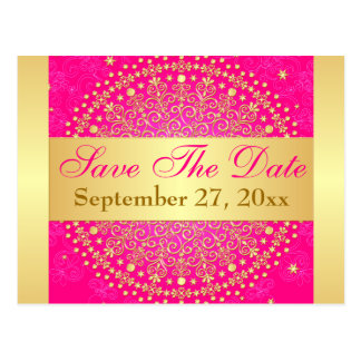 Intricate PInk, Gold Scrolls Save the Date Card Postcard