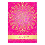 Intricate Pink, Gold Scrolls Wedding RSVP Card Personalized Invitations