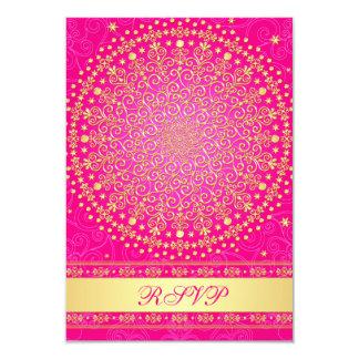 "Intricate Pink, Gold Scrolls Wedding RSVP Card 3.5"" X 5"" Invitation Card"