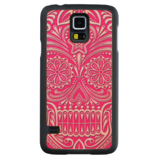 Intricate Pink Sugar Skull Carved Maple Galaxy S5 Case