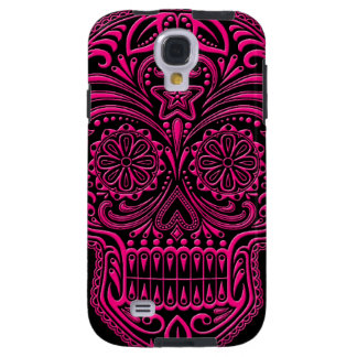 Intricate Pink Sugar Skull on Black Galaxy S4 Case