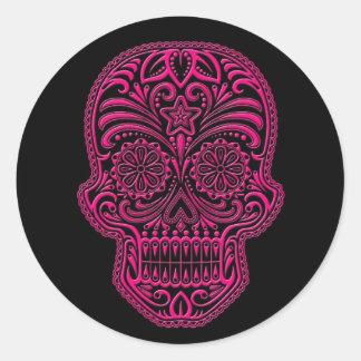Intricate Pink Sugar Skull on Black Round Sticker