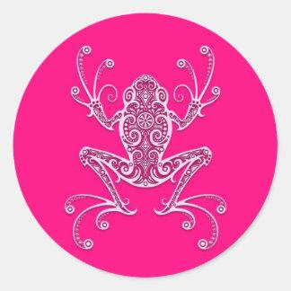 Intricate Pink Tree Frog Classic Round Sticker