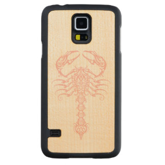 Intricate Pink Tribal Scorpion Carved Maple Galaxy S5 Case