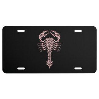 Intricate Pink Tribal Scorpion License Plate