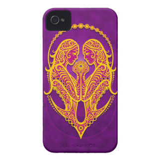 Intricate Purple and Yellow Tribal Gemini iPhone 4 Case-Mate Cases