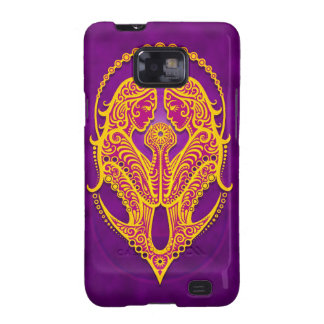 Intricate Purple and Yellow Tribal Gemini Galaxy S2 Cases