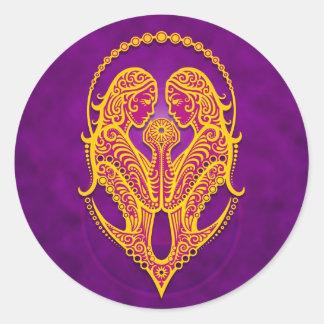Intricate Purple and Yellow Tribal Gemini Round Sticker