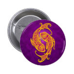 Intricate Purple and Yellow Tribal Pisces Buttons