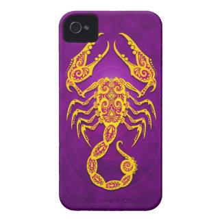 Intricate Purple and Yellow Tribal Scorpio iPhone 4 Case-Mate Case