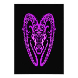 Intricate Purple Aries Zodiac on Black 3.5x5 Paper Invitation Card