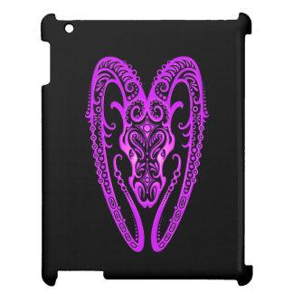 Intricate Purple Aries Zodiac on Black iPad Case