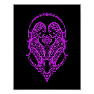 Intricate Purple Gemini Zodiac on Black Print