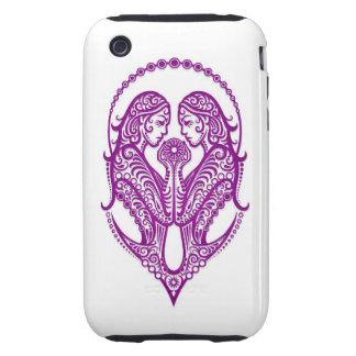 Intricate Purple Gemini Zodiac on White Tough iPhone 3 Cover