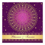 Intricate Purple Gold Scrolls Stars Wedding Invite