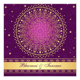Intricate Purple Gold Scrolls Stars Wedding Invite