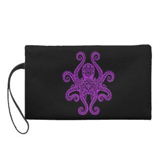 Intricate Purple Octopus on Black Wristlet Clutches