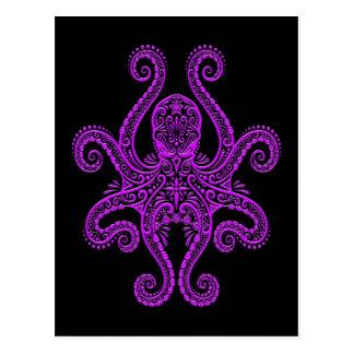 Intricate Purple Octopus on Black Postcard