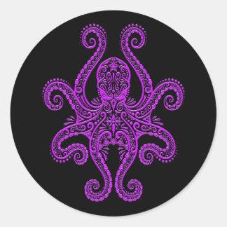 Intricate Purple Octopus on Black Round Stickers