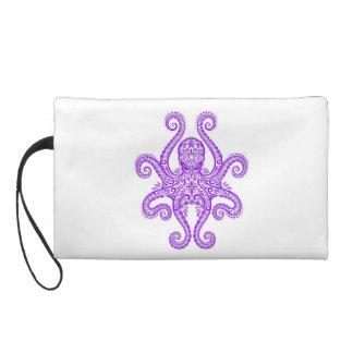 Intricate Purple Octopus on White Wristlet Purses