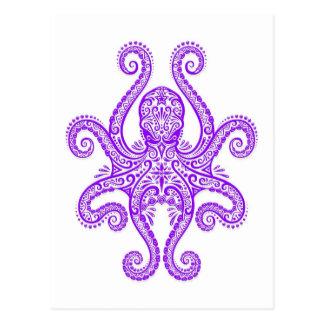 Intricate Purple Octopus on White Postcard
