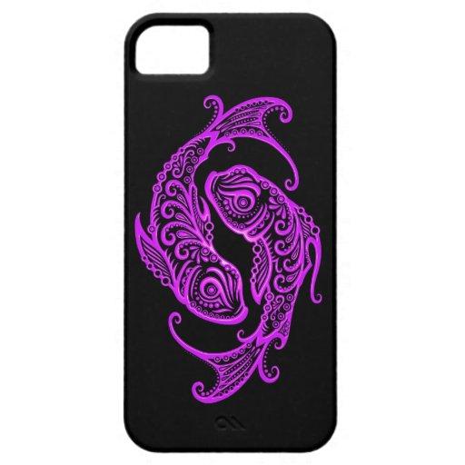 Intricate Purple Pisces Zodiac on Black iPhone 5 Case