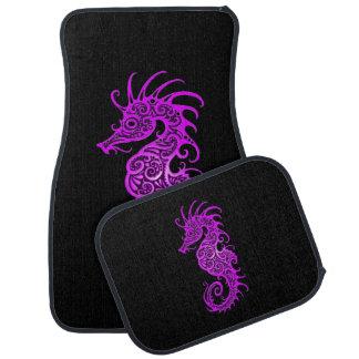 Intricate Purple Seahorse Design on Black Car Mat
