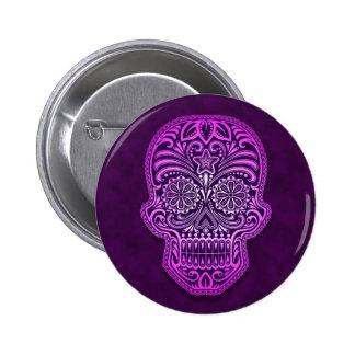 Intricate Purple Sugar Skull Button