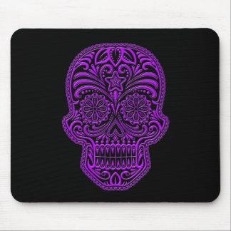 Intricate Purple Sugar Skull on Black Mouse Pad