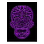 Intricate Purple Sugar Skull on Black Postcard