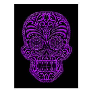 Intricate Purple Sugar Skull on Black Post Cards