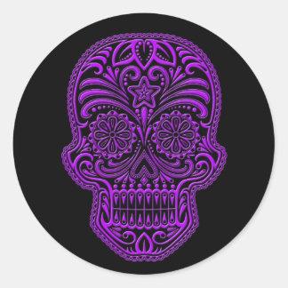 Intricate Purple Sugar Skull on Black Classic Round Sticker