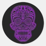 Intricate Purple Sugar Skull on Black Stickers