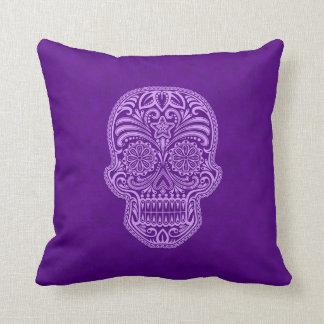 Intricate Purple Sugar Skull Throw Pillow
