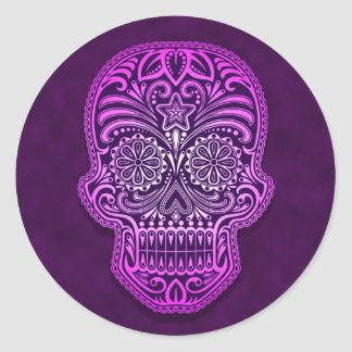 Intricate Purple Sugar Skull Round Sticker