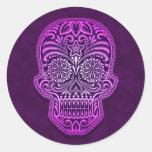 Intricate Purple Sugar Skull Stickers
