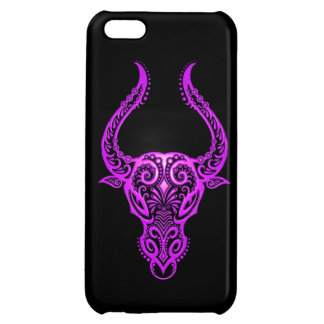 Intricate Purple Taurus Zodiac on Black Cover For iPhone 5C