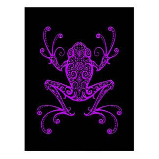 Intricate Purple Tree Frog on Black Postcard