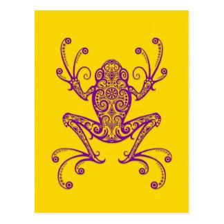 Intricate Purple Tree Frog on Yellow Postcard