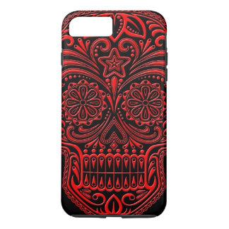 Intricate Red and Black Sugar Skull iPhone 8 Plus/7 Plus Case