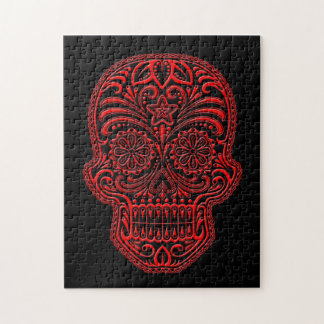 Intricate Red and Black Sugar Skull Jigsaw Puzzle