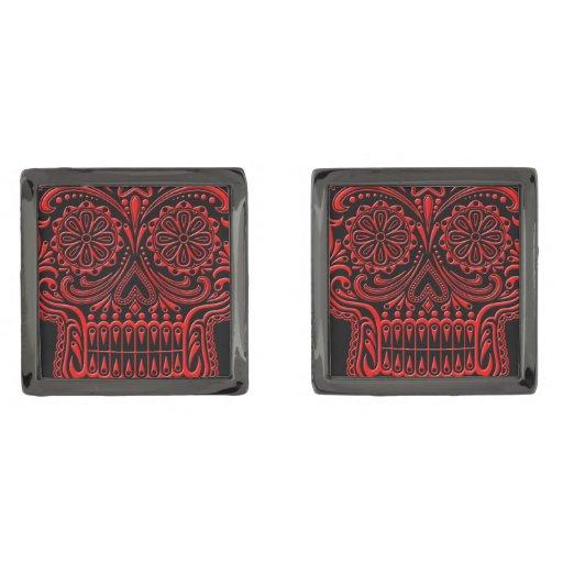 Intricate Red and Black Sugar Skull Gunmetal Finish Cufflinks