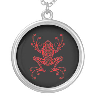 Intricate Red and Black Tree Frog Personalized Necklace