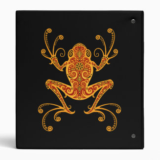 Intricate Red and Yellow Tree Frog 3 Ring Binders
