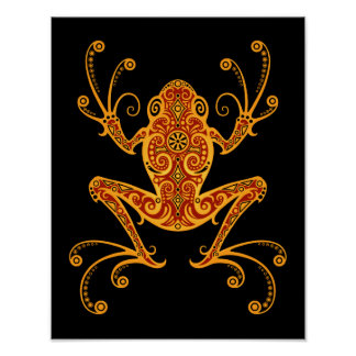 Intricate Red and Yellow Tree Frog Poster