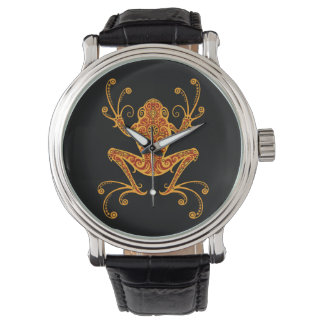 Intricate Red and Yellow Tree Frog Wrist Watches