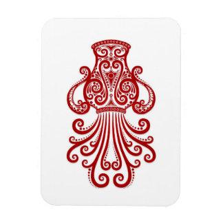 Intricate Red Aquarius Zodiac on White Magnet