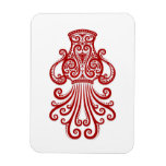 Intricate Red Aquarius Zodiac on White Flexible Magnets