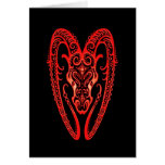 Intricate Red Aries Zodiac on Black Cards
