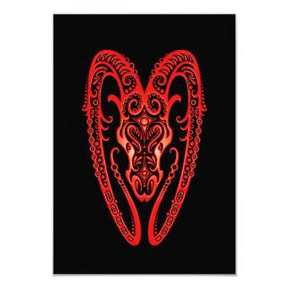 Intricate Red Aries Zodiac on Black 3.5x5 Paper Invitation Card